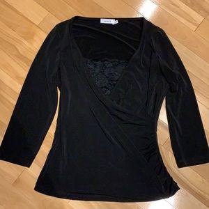 Ricki's 3/4 length black dress top w lace - size M